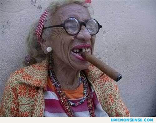 funny smoking grandma