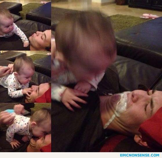 Baby Vomits on Daddy