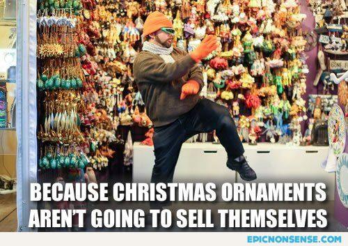 Douchebag Selling Christmas Ornaments