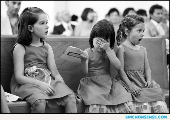 Little girls' reactions to the kiss at a wedding